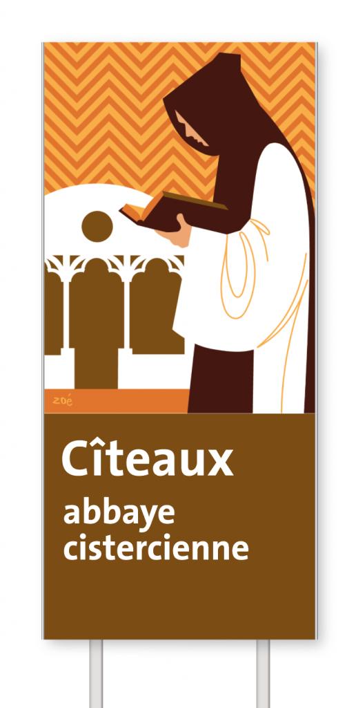 Illustration panneaux d'autoroute abbaye de citeaux