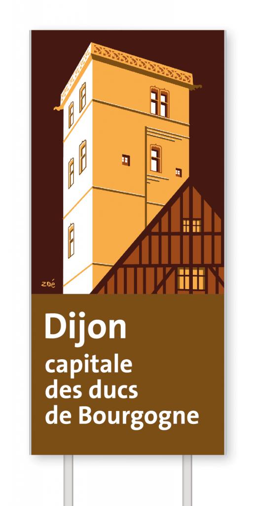 Illustration panneaux d'autoroute palais des ducs de bourgogne dijon