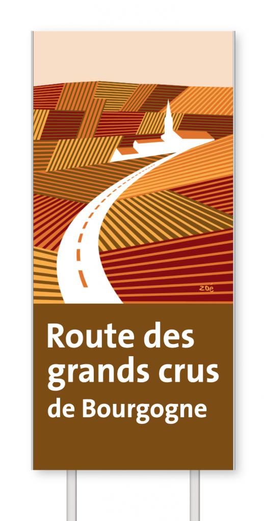 Illustration panneaux d'autoroute route des grands crus