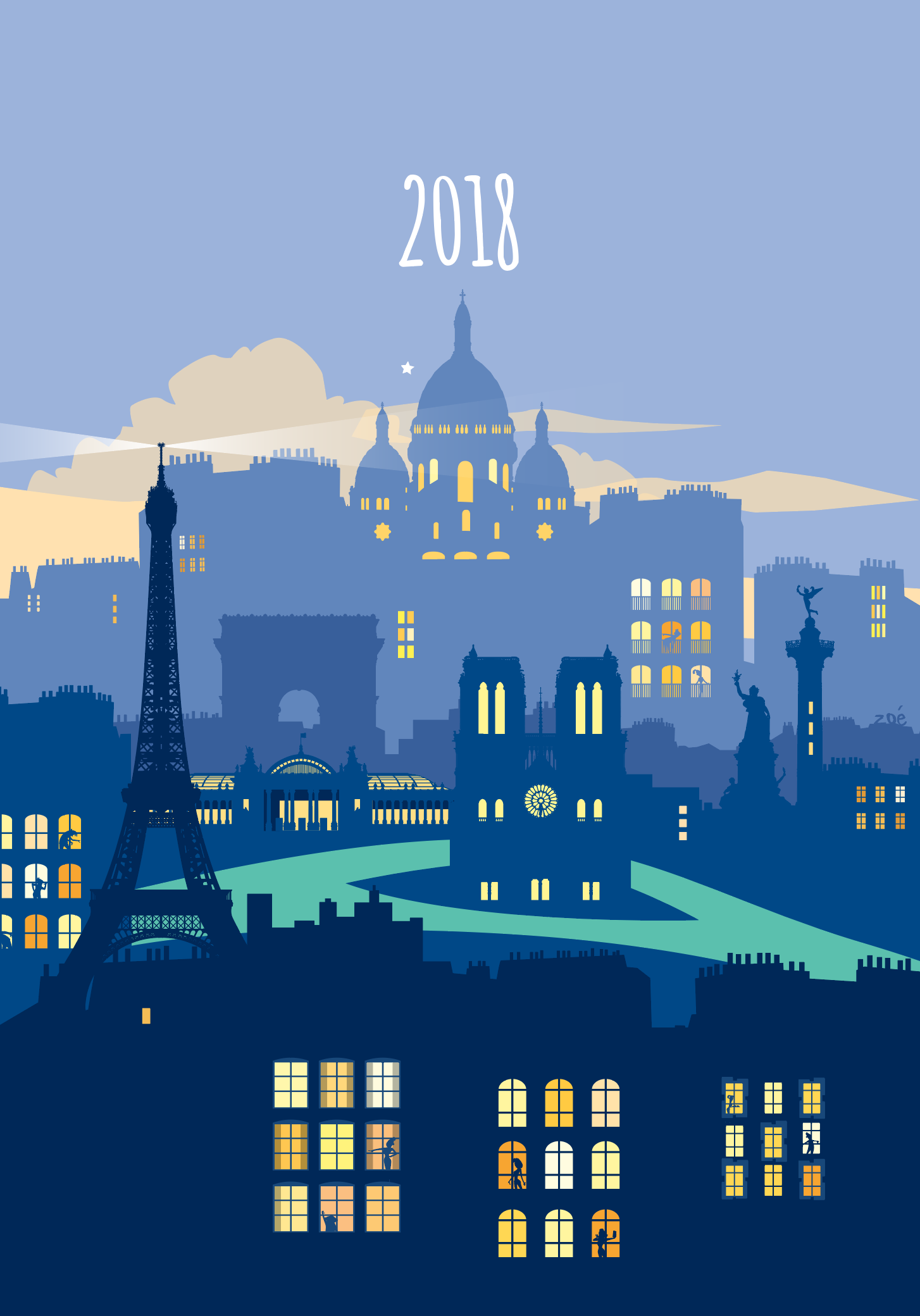 illustration paris de nuit