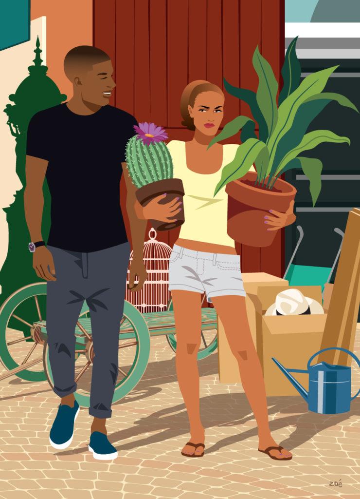 illustration couple brocante