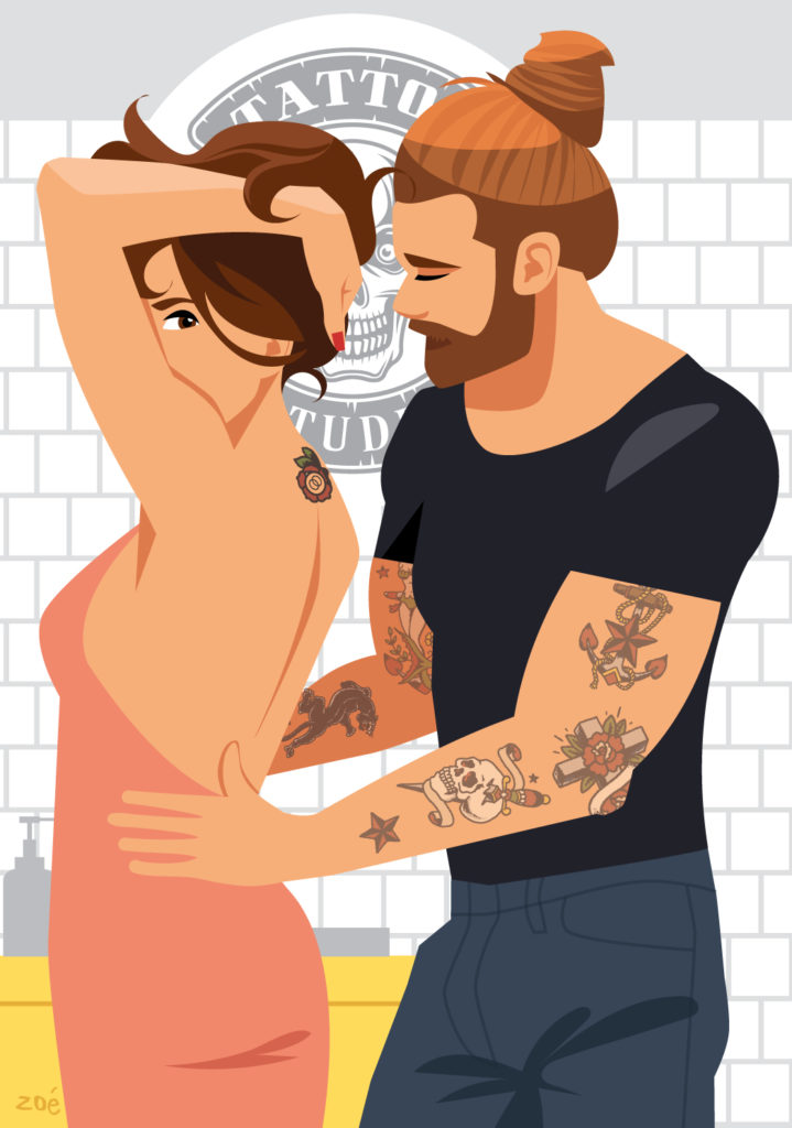 illustration couple closer sexy
