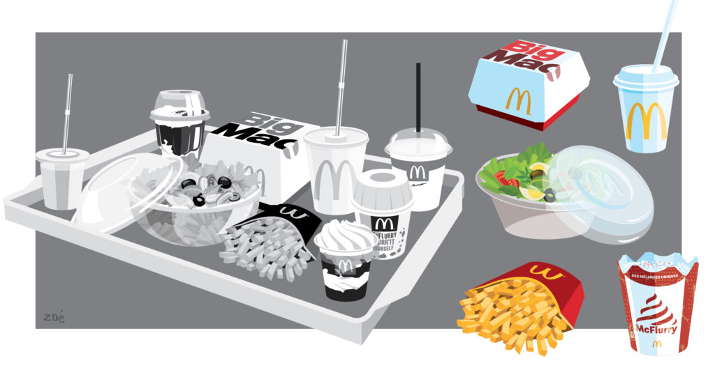 illustration packaging mac Donald's plateau