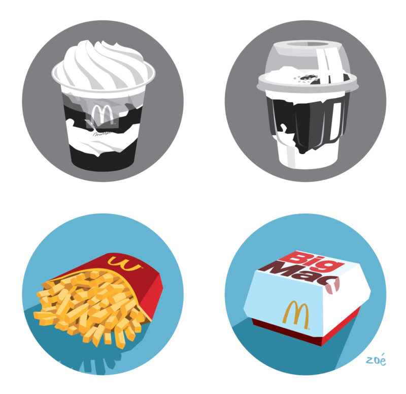 illustration packaging mac Donald's vignettes