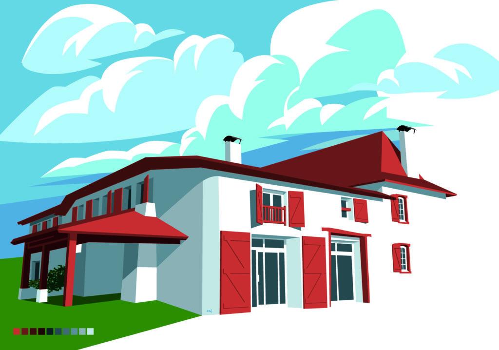 illustration maison pays basque