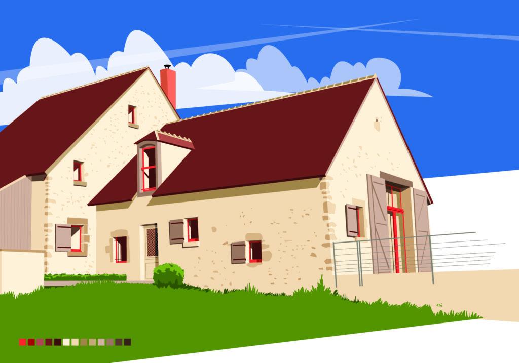 illustration maison bourbonnaise