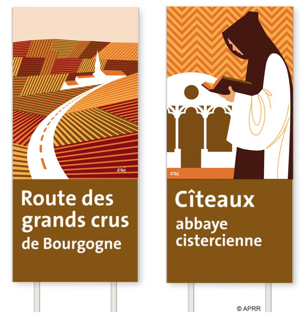 illustration autoroute panneaux bourgogne