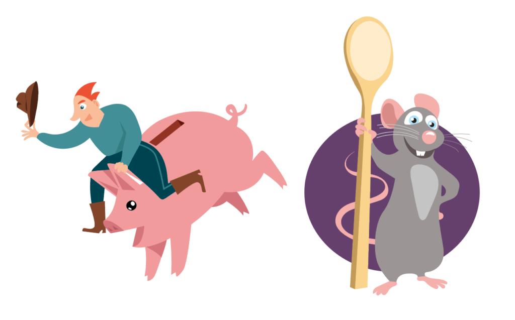 illustration cochon rats