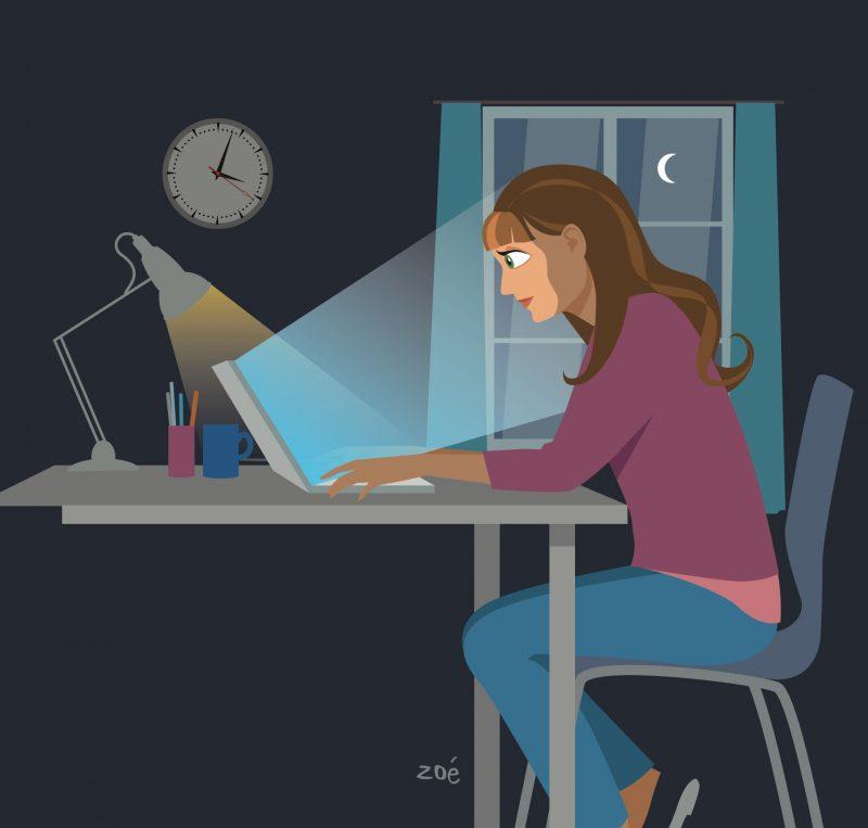 illustration fille ordinateur nuit