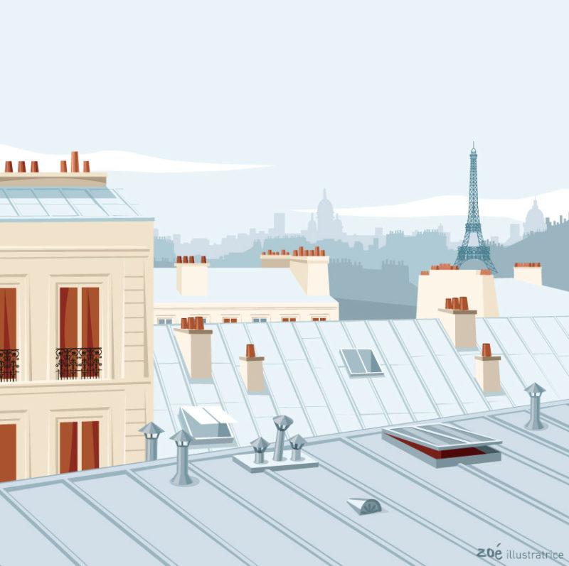 illustration toits de paris