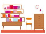Association d'une bibliothèque design et de meubles industriels