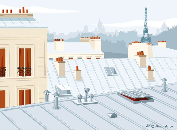 illustration Les toits de Paris
